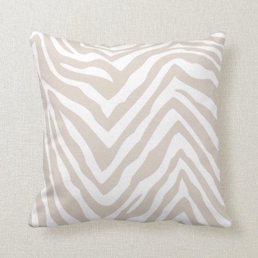 Linen Beige Zebra Stripes Throw Pillow Zazzle