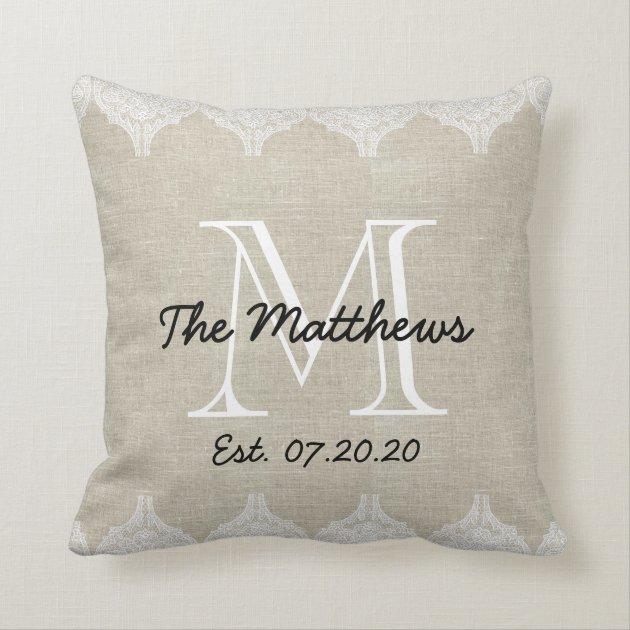 Linen Monogram Throw Pillow: Linen Lace Look Custom Monogram Throw Pillows