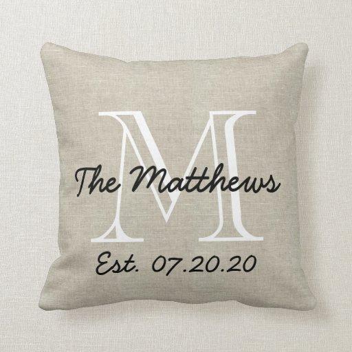 Linen Monogram Throw Pillow: Linen Look Custom Family Monogram Throw Pillow