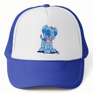 Little blue puppy trucker hat hat
