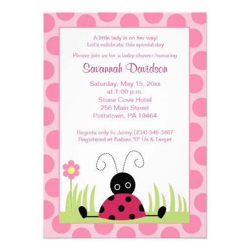 Little Ladybug Pink Dot Baby Shower Invitation
