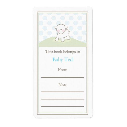 Little lamb bookplate personalized shipping labels zazzle for Bookplate templates for word
