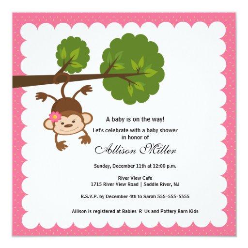 Little Monkey Baby Girl Shower Invitation