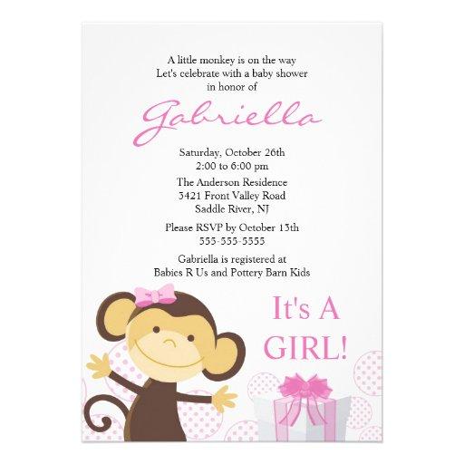 "Little Monkey Girl Baby Shower Invitation 5"" X 7"