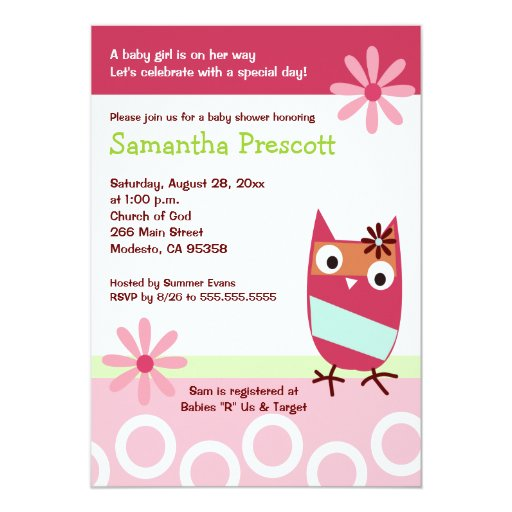 Little Owl Baby Shower Invitations Baby Girl 5x7
