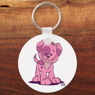 Little pink puppy keychain keychain