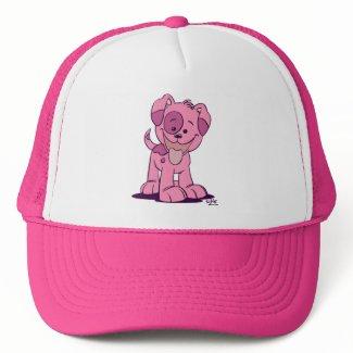 Little pink puppy trucker hat hat