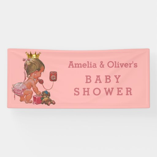 Baby Shower Custom Banners: Little Princess On Phone Personalized Baby Shower Banner