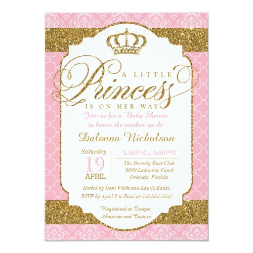 Little Princess Royal Pink And Gold Baby Shower 5x7 Paper