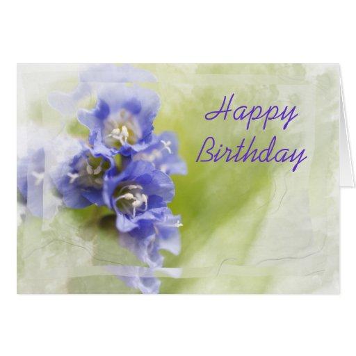 Little Purple Flowers Happy Birthday Card