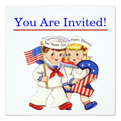 Little Sailor Twins 2nd Birthday Party Invitiation