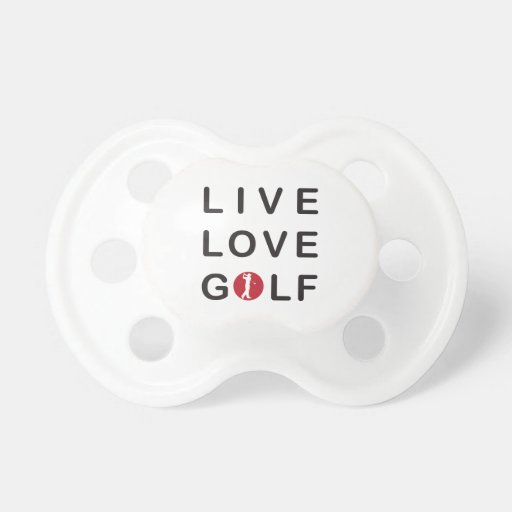 live love golf golfing red black pacifier zazzle. Black Bedroom Furniture Sets. Home Design Ideas