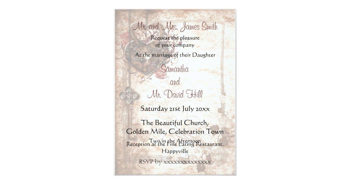Key Themed Wedding Invitations: Lock And Key Wedding Invitation