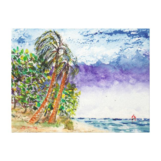 Lone Sail Boat & Palm Trees North Carolina Beach Stretched Canvas Prints