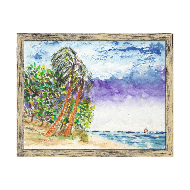 Lone Sail Boat & Palm Trees North Carolina Beach Gallery Wrapped Canvas