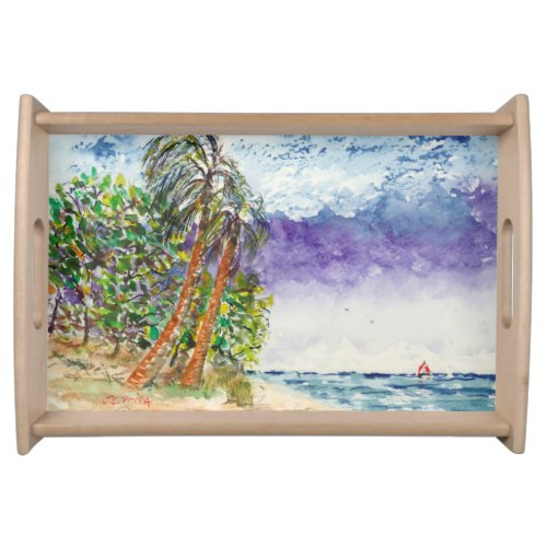Lone Sail Boat & Palm Trees North Carolina Beach Serving Tray