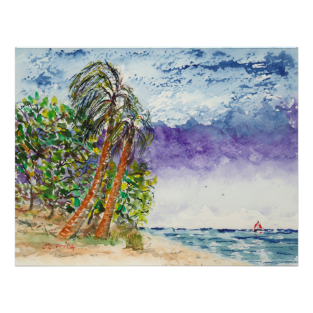 Lone Sail Boat & Palm Trees North Carolina Beach Posters