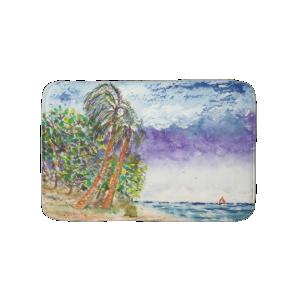 Lone Sail Boat & Palm Trees North Carolina Beach Bath Mats