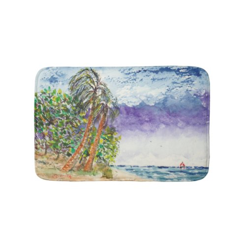 Lone Sail Boat & Palm Trees North Carolina Beach Bath Mats