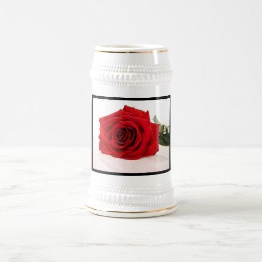 Stein Rose: Long Stem Red Rose Beer Stein 18 Oz Beer Stein