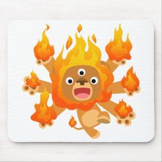 Lord of Fire!! (cute cartoon lion) Mousepad mousepad