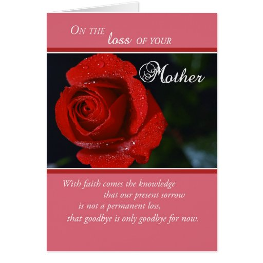 Religious Sympathy Quotes For Loss Of Mother: Loss Of Mother, Sympathy Red Rose, Religious Card