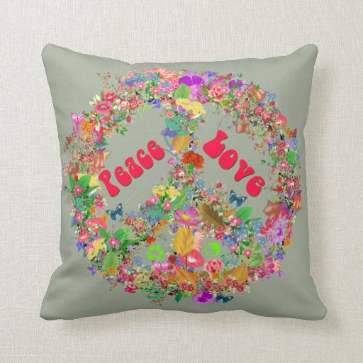 Love And Peace Throw Pillow Zazzle