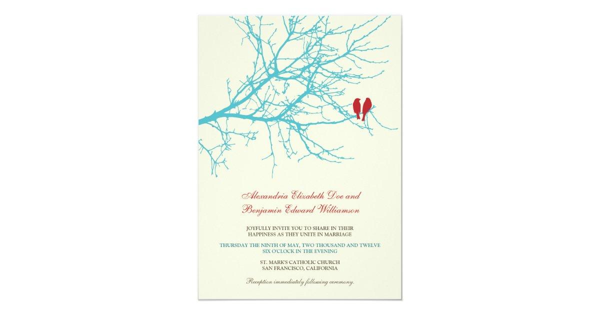 Love Birds Wedding Invitations: Love Birds Branch Wedding Invitation (aqua)