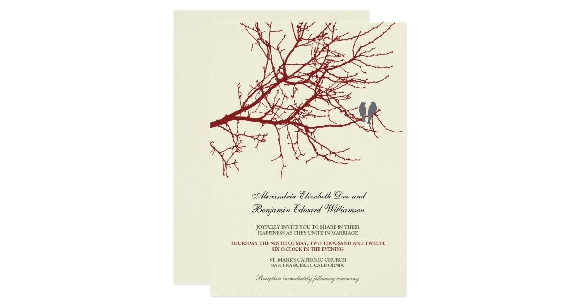 Love Birds Wedding Invitations: Love Birds Branch Wedding Invitation (maroon)