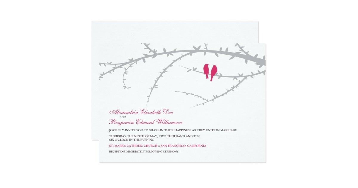 Love Birds Wedding Invitations: Love Birds Wedding Invitation (fuchsia)