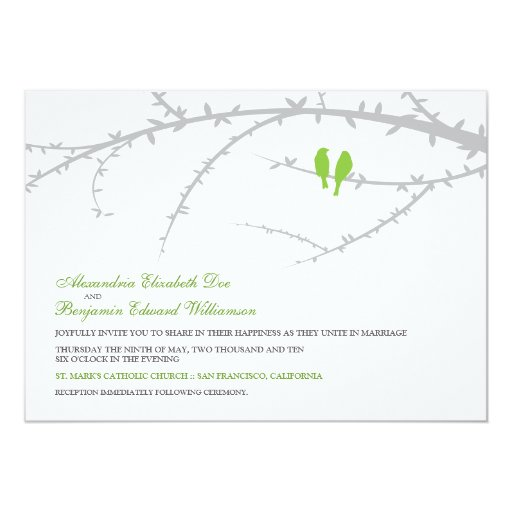 Apple Green Wedding Invitations: Love Birds Wedding Invitation (green Apple)