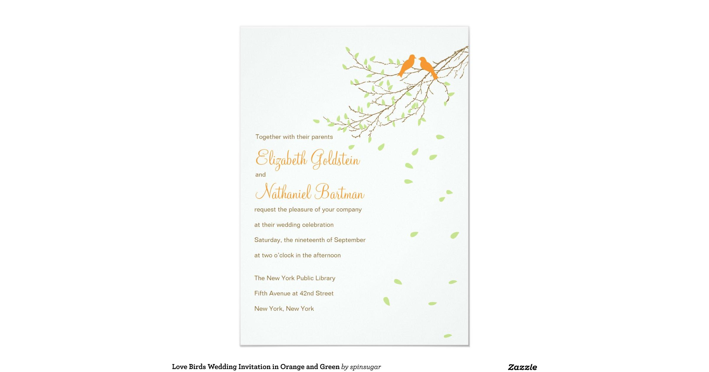 Love Birds Wedding Invitations: Love_birds_wedding_invitation_in_orange_and_green