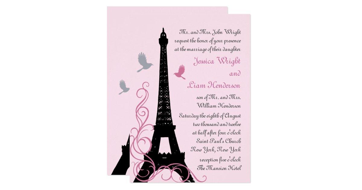 Love Birds Wedding Invitations: Love Birds Wedding Invitation (pink)