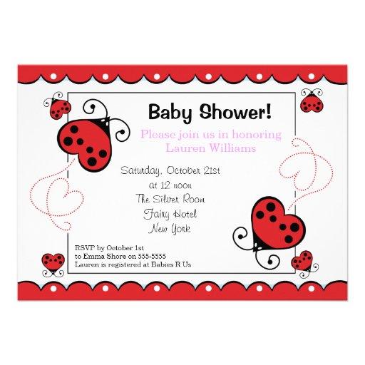 "Love Heart Ladybug Baby Shower Invitations Girl 5"" X 7"