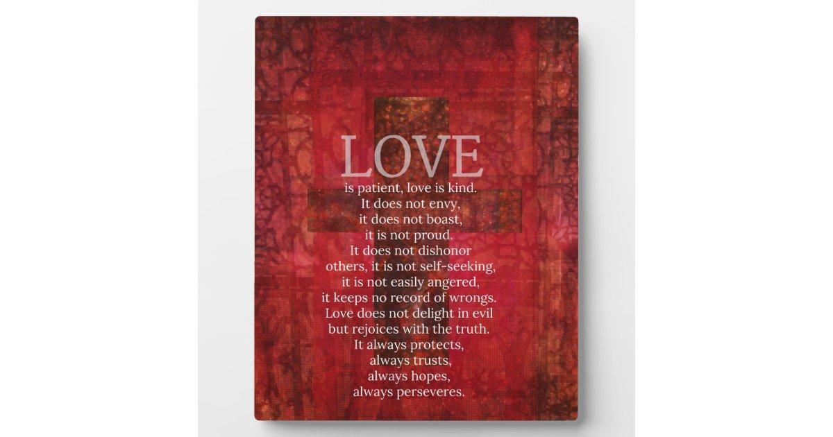 Love Is Patient Love Is Kind Bible Verse Plaque Zazzle