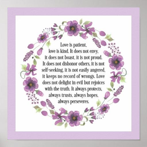 Wedding Reading Love Is Patient: Love Is Patient Wedding Bible Love Quote Poster