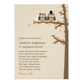Love Owls Fall Wedding Invitation Personalized Announcement