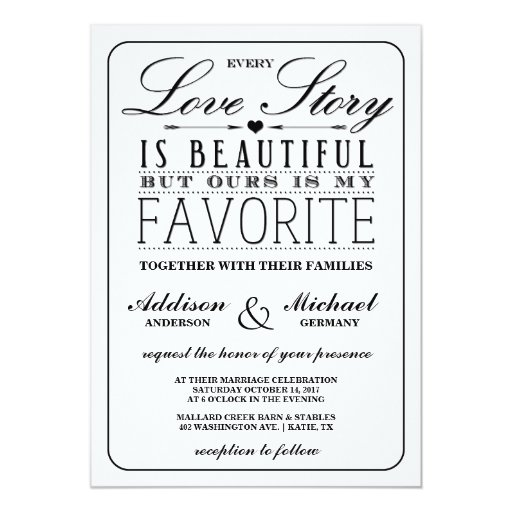 Love Story EDITABLE COLOR Wedding Invitation