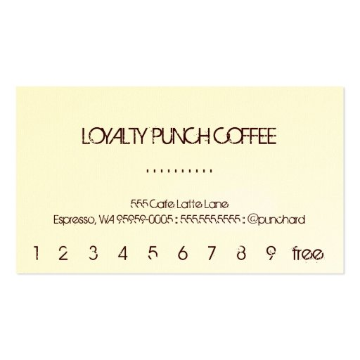 Loyalty Coffee Punch-Card Double-Sided Standard Business Cards (Pack ...