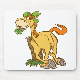 Lucky Cartoon Horse on St Patrick's Day mousepad mousepad