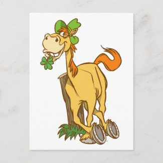 Lucky Cartoon Horse on St Patrick's Day postcard postcard