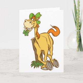 Lucky Cartoon Horse-St Patrick's Day greeting card card