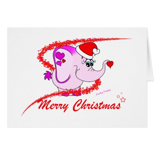 lucky pinkie pink elephant merry christmas card  zazzle