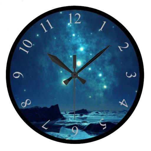 Luminous Stars Large Clock Zazzle