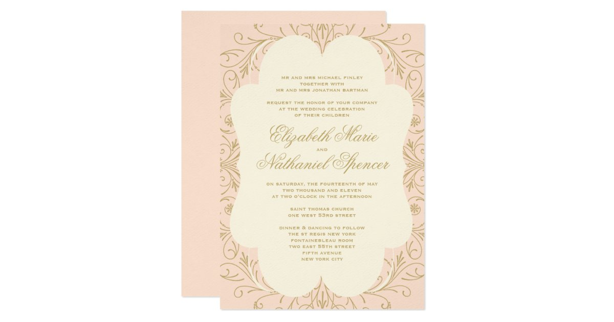 Flourish Wedding Invitations: Lush Flourish Wedding Invitation Blush/Gold