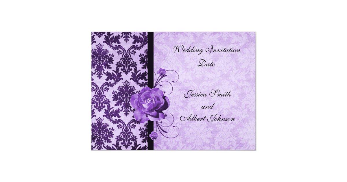 Purple Rose Wedding Invitations: Luxury Elegant Damask Purple Rose Wedding Invite