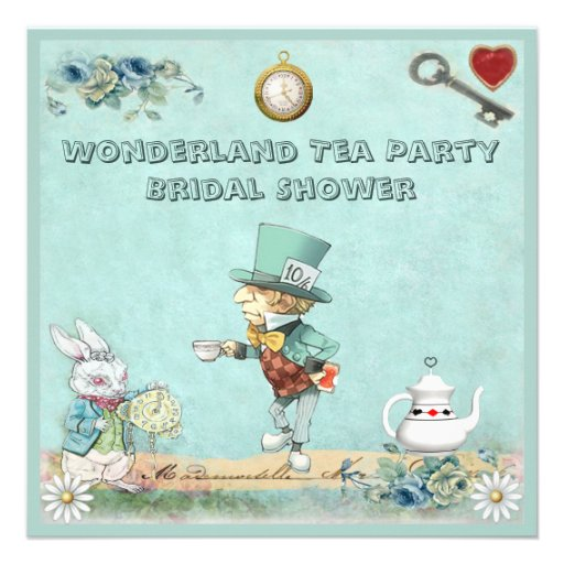 Mad Hatter Tea Party Bridal Shower Invitations