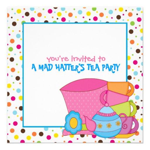 """Mad Hatter's Tea Party Invitations 5.25"""" Square Invitation ..."""