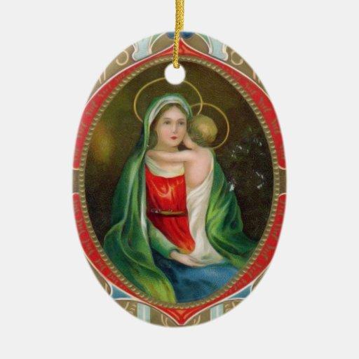 Vintage Religious Christmas Ornament: Madonna Mary And Child Vintage Religious Christmas