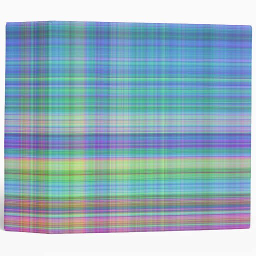 Madras Plaid 2 Inch In Blue,turquoise,pink, Yellow 3 Ring